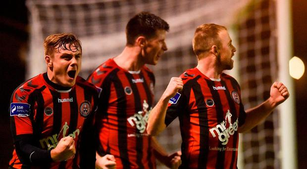 Bohemians players from left, George Poynton, Dinny Corcoran, and Keith Ward celebrate Dinny Corcoran's goal during the SSE Airtricity League Premier Division match between Bohemians and Bray Wanderers at Dalymount Park in Dublin. Photo by David Fitzgerald/Sportsfile