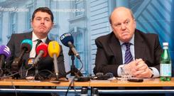 Public Expenditure Minister Paschal Donohoe (left) and Finance Minister Michael Noonan. Photo: Gareth Chaney Collins