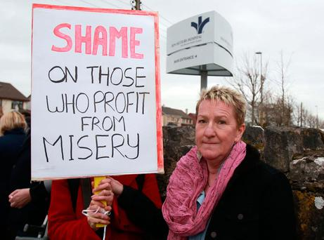 Bernie Kerridge, who as a child was in the Tuam Mothers and Babies Home, protesting outside the Bon Secours Hospital in Galway following the scandal. Photo: Hany Marzouk