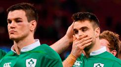 A dejected Conor Murray and Johnny Sexton after the game. Photo: Stephen McCarthy/Sportsfile