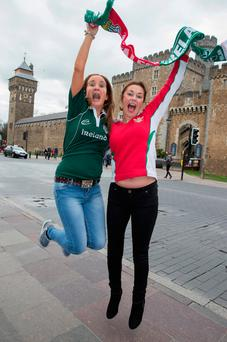 Yvonne Brophy, from Portlaoise, and Paula Williams, from Llandrindod Wells, in Cardiff ahead of the match Photo: Huw John