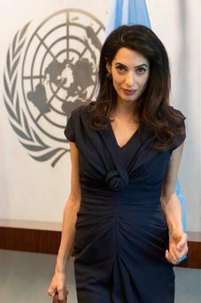 Amal Clooney at UN headquarters yesterday. Photo: AP