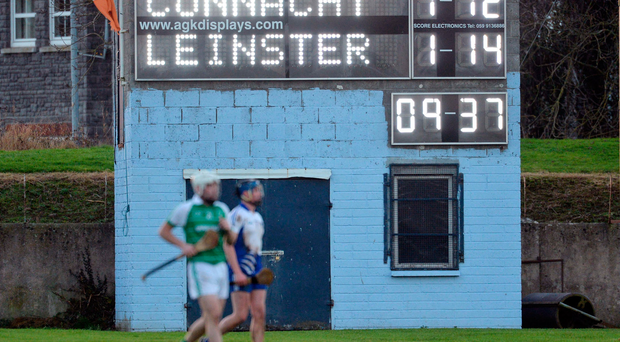 A general view of the scoreboard during Railway Cup game between Leinster and Connacht