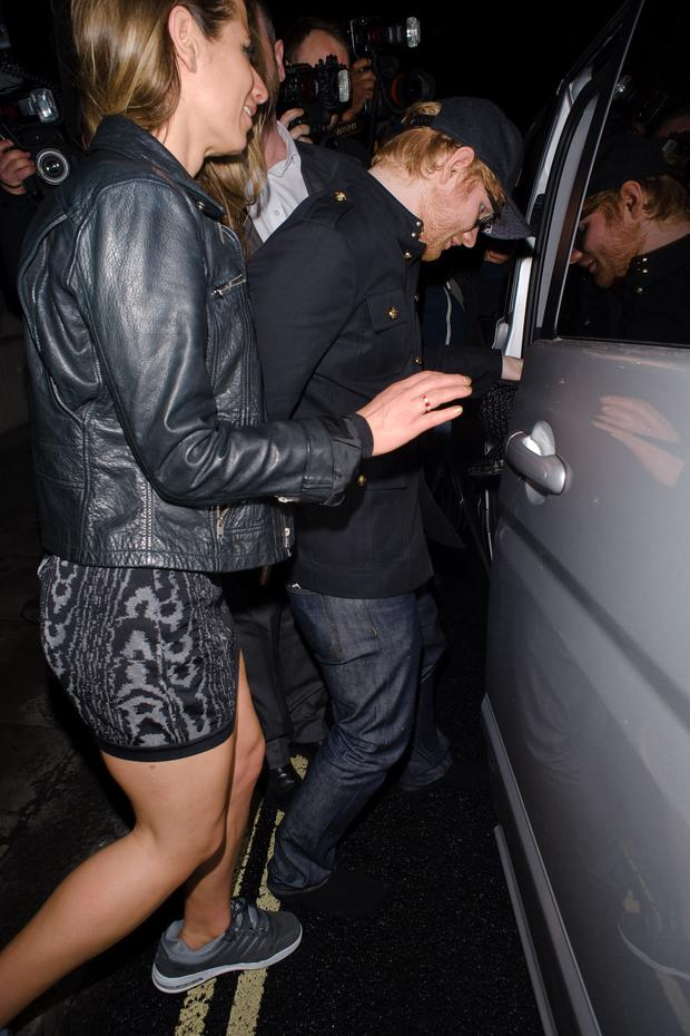 Ed Sheeran and Cherry Seaborn seen attending the Warner Music BRITs party at the Freemasons Hall on February 22, 2017 in London, England. (Photo by GOR/GC Images)