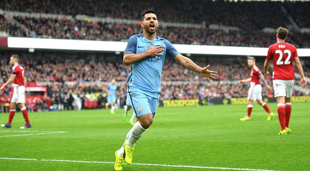 MIDDLESBROUGH, ENGLAND - MARCH 11: Sergio Aguero of Manchester City celebrates scoring his sides second goal during The Emirates FA Cup Quarter-Final match between Middlesbrough and Manchester City at Riverside Stadium on March 11, 2017 in Middlesbrough, England. (Photo by Michael Regan/Getty Images)