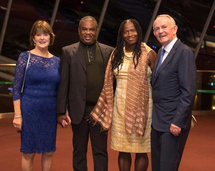 Carmel Buckley, Yvrose Telfort Ismael, Pierre Richard Ismael, founders of Hope House Haiti and Leslie Buckley, at the Haven Gala Concert 2017at the Convention Centre Dublin Photo: Fergal Phillips