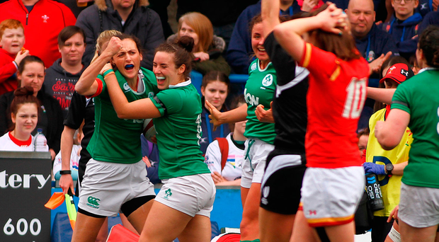 Hannah Tyrrell of Ireland celebrates her try with team mates during the RBS Women's Six Nations Rugby Championship match. Photo: Sportsfile