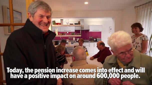 Card-carrying: A still from the Fine Gael promotional video in which pensioners sing the praises of the Government