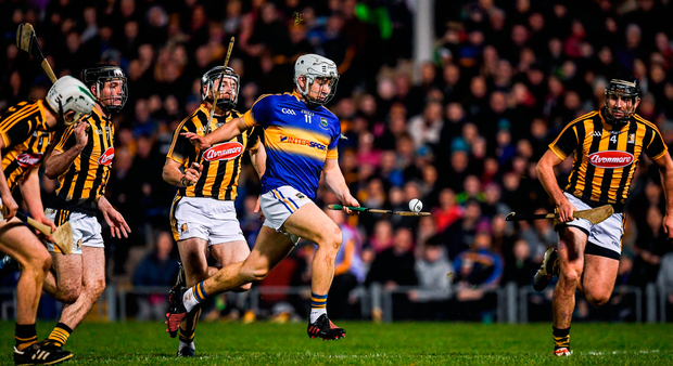 Tipperary's Niall O'Meara in action against Pádraig Walsh, Jason Cleere, Conor Fogarty and Conor O'Shea of Kilkenny. Photo: Sportsfile