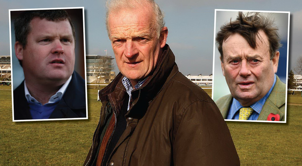 The big guns who will be vying for the trainer's crown at Cheltenham: (from left) Gordon Elliott, Willie Mullins and Nicky Henderson