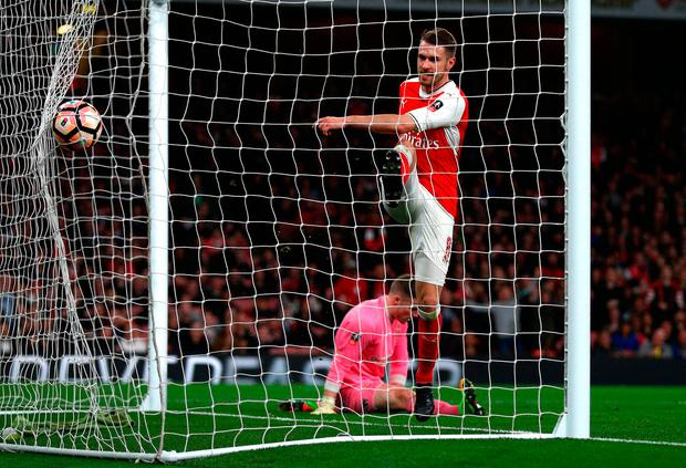 Aaron Ramsey of Arsenal scores his sides fifth goal. Photo: Getty