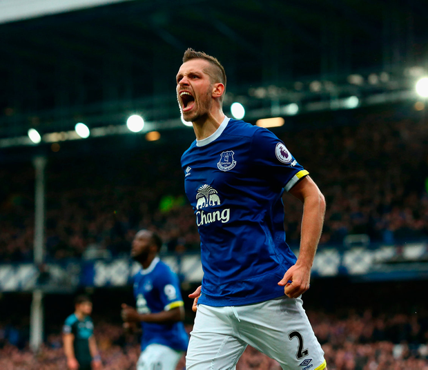 Morgan Schneiderlin of Everton celebrates scoring his sides second goal. Photo: Getty