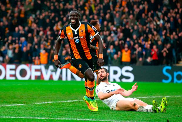 Oumar Niasse of Hull City celebrates as he scores their second goal. Photo: Getty