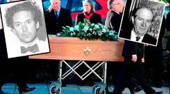 Connolly's funeral (main); a closeup of Macarthur (inset left), former AG Patrick Connolly (inset right)