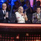 Judges Brian Redmond,Lorraine Barry and Julian Benson during the live show of RTE's Dancing with the stars. Photo: Kyran O'Brien