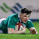Calvin Nash of Ireland goes over to score his side's first try. Photo: Simon Bellis/Sportsfile