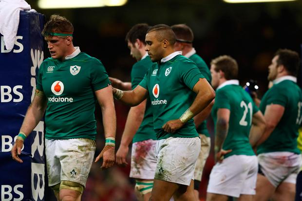 Jamie Heaslp and Simon Zebo show their disappointment during the defeat against Wales. Photo: Michael Steele/Getty Images