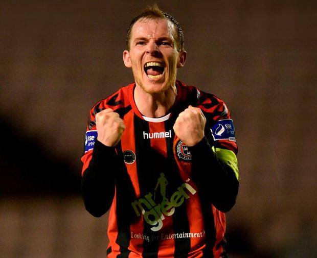 Bohemians captain Derek Pender celebrates his side's victory after their SSE Airtricity League Premier Division match against Bray Wanderers at Dalymount Park last Friday. Bohs travel to Limerick tonight. Photo: David Fitzgerald/Sportsfile