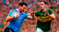Dublin's Michael Darragh Macauley and David Moran of Kerry battle it out in last year's All-Ireland semi-final – the pair will renew rivalry in Tralee on Saturday night. Photo: Ray McManus/Sportsfile