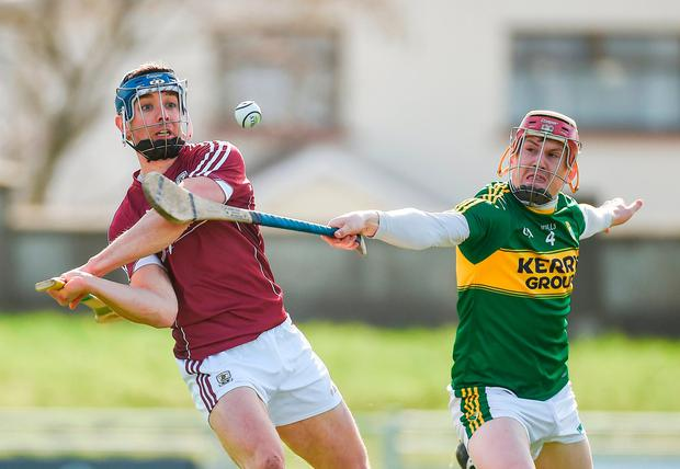 Sean Weir tries to block Galway's Shane Maloney. Photo: Diarmuid Greene/Sportsfile