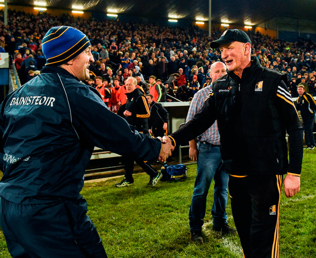 Tipperary manager Michael Ryan and Kilkenny boss Brian Cody shake hands. Photo: Ray McManus/Sportsfile
