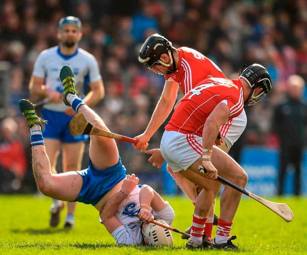 Shane Bennett under pressure from Cork players Mark Ellis and Colm Spillane. Photo: Stephen McCarthy/Sportsfile