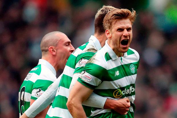 Stuart Armstrong celebrates after giving Celtic the lead. Photo: Jane Barlow/PA Wire