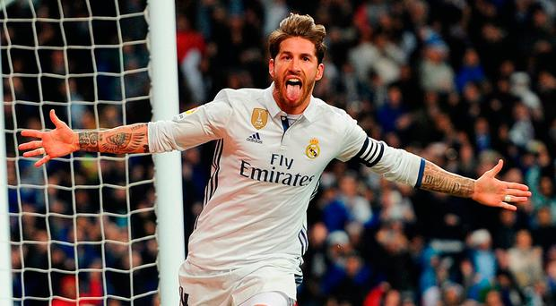 Sergio Ramos celebrates after heading Real Madrid into the lead against Real Betis at the Bernabeu. Photo: Denis Doyle/Getty Images