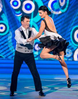 Des Cahill and Karen Byrne perform their routine during their last show on RTÉ's 'Dancing With The Stars' Photo: Kyran O'Brien