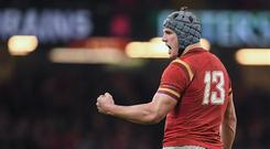 10 March 2017; Jonathan Davies of Wales celebrates near the end of the RBS Six Nations Rugby Championship match between Wales and Ireland at the Principality Stadium in Cardiff, Wales. Photo by Brendan Moran/Sportsfile