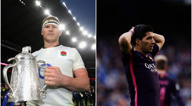 Dylan Hartley (left) and Luis Suarez (right).