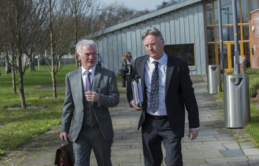 Malachy Steenson, solicitor for Leo Sherlock and Paul Meagher, solicitor for Independent Newspapers outside Ardee court Photo: Ciara Wilkinson