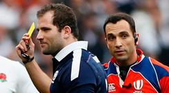 French referee Mathieu Raynal opted to hand Brown a yellow card for his second-minute tackle on Daly after consultation with Television Match Official Ben Skeen. Photo: REUTERS