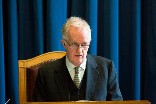 Justice Peter Charleton presides over the Disclosure Tribunal at Dublin Castle. Photo: Colin O'Riordan