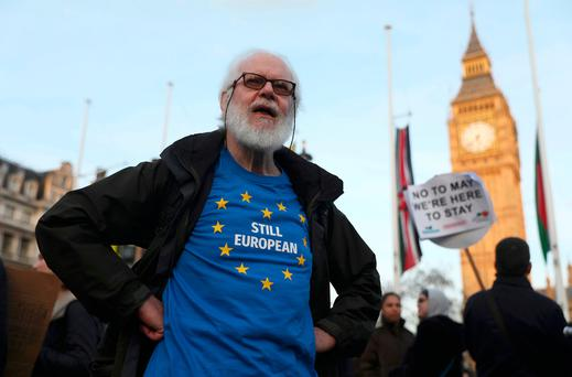 A demonstrator wears an EU-themed T-shirt during a protest in in London yesterday (Reuters)