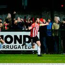 Ryan McBride of Derry City celebrates after scoring his side's third goal