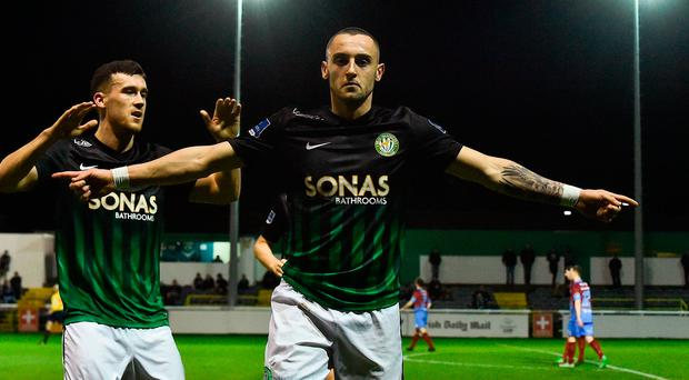 Dylan Connolly of Bray Wanderers celebrates after scoring his side's second goal with team-mate Aaron Greene