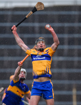 Cathal Malone of Clare and Michael Breen of Tipperary, both wearing Mycro helmets, in action during their league clash in Semple Stadium in Thurles, Co Tipperary