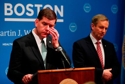 Taoiseach Enda Kenny with Boston mayor Marty Walsh at city hall on the second day of his US visit Photo: Niall Carson