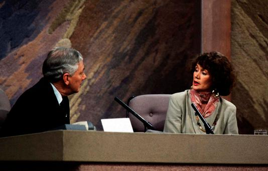 Annie Murphy, mother of Bishop Eamonn Casey's son Peter, with Gay Byrne on the Late Late Show in 1993