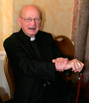 Bishop Eamonn Casey at the launch of a new book on the history of Trócaire in 2010. Photo: Collins