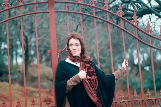 Annie Murphy at the gates of Red Cliff House in Inch, Co Kerry. Photo: Don MacMonagle