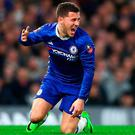 Chelsea's Eden Hazard reacts during The Emirates FA Cup Quarter-Final match between Chelsea and Manchester United at Stamford Bridge. Photo: Getty Images