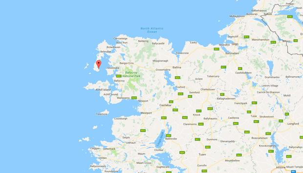 Blacksod (marked). Picture: Google maps