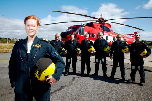 Capt. Dara Fitzpatrick with former crew (not involved in crash) Pic: Miki Barlok