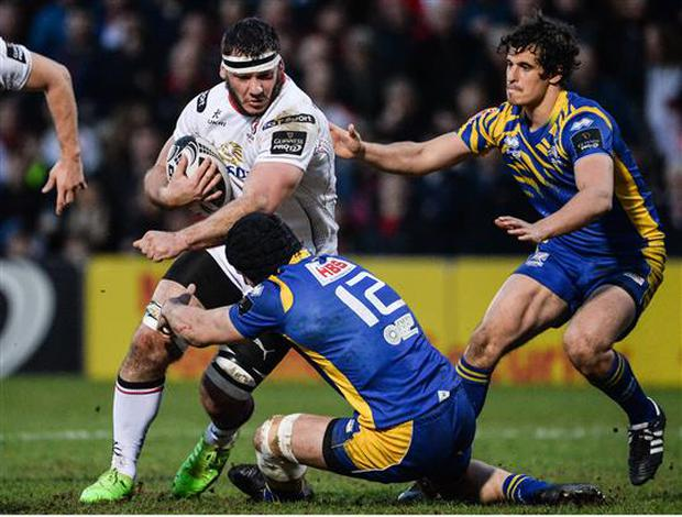 11 March 2017; Marcell Coetzee of Ulster is tackled by Tommaso Castello of Zebre during the Guinness PRO12 Round 9 Refixture match between Ulster and Zebre at Kingspan Stadium in Belfast. Photo by Oliver McVeigh/Sportsfile