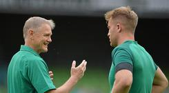 15 August 2015; Ireland head coach Joe Schmidt speaking with Luke Fitzgerald ahead of the game. Rugby World Cup Warm-Up Match. Ireland v Scotland. Aviva Stadium, Lansdowne Road, Dublin. Picture credit: Brendan Moran / SPORTSFILE