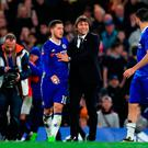 A delighted Antonio Conte congratulates Eden Hazard after the match. Photo credit: Adam Davy/PA Wire