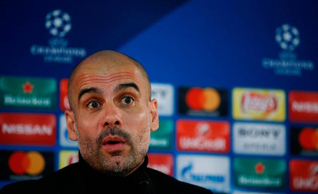 Manchester City manager Pep Guardiola speaks to the press ahead of tonight's Champions League clash with Monaco. Photo: Reuters / Andrew Couldridge