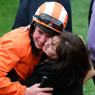Wonderkid Jack Kennedy gets a congratulatory hug off his mum, Elizabeth Photo: Damien Eagers